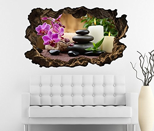 3D Wandtattoo Wellness Kerze Steine Orchidee Blume Yoga Bild Foto Wandbild Wandsticker Wohnzimmer Wand Aufkleber 11F190, Wandbild Größe F:ca....