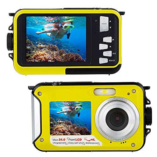 Unterwasserkamera Schnorcheln 24,0 MP Digitalkamera Wasserdichte Float Full HD 1080P Dual Screen Unterwasser Kamera