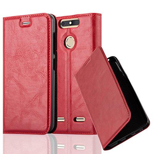 Cadorabo Hülle für ZTE Blade V8 Mini - Hülle in Apfel ROT - Handyhülle mit Magnetverschluss, Standfunktion & Kartenfach - Case Cover Schutzhülle Etui Tasche Book Klapp Style