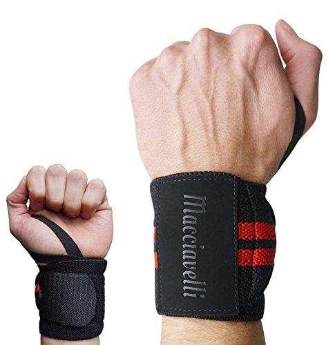 MACCIAVELLI – Handgelenkbandagen [2er Set] mit Adaptive Stretch und Easy FIT Schlaufe – Wettkampf Wrist Wraps für Kraftsport, Gewichtheben, Bodybuilding und Crossfit – EXTRA: geprägtes Logo