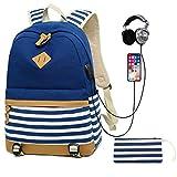 SANMIO Schulrucksack Mädchen Schultaschen Canvas Rucksack Schultasche Daypacks für Damen Herren Streifen Backpack mit 15.6 Zoll, USB Charging Port, 3.5mm Headphone Port (Blau)