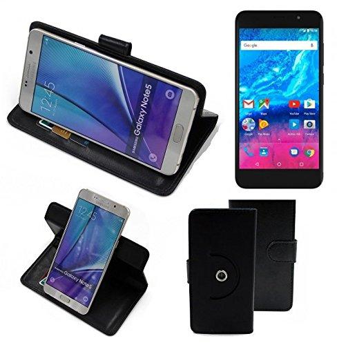 K-S-Trade® Case Schutz Hülle Für -Archos Core 55P- Handyhülle Flipcase Smartphone Cover Handy Schutz Tasche Bookstyle Walletcase Schwarz (1x)