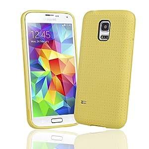 EnGive Samsung Galaxy S5 Mini Hülle Silikon Weich Tasche Case Schutzhülle (Gelb)