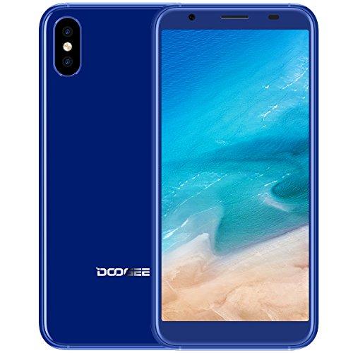 Smartphone In Offerta, DOOGEE X55 3G Dual SIM Android 7.0 Telefonia Mobile, 5.5 Pollici 18:9 Display, 1GB RAM 16GB ROM, Processore Quad Core, Fotocamera Posteriore da 8+8MP, Impronta Digitale - Blu