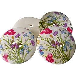Monbedos 10pcs Motif fleur peinte Boutons Boutons en bois pour mariage Décor à coudre Accessoires 30mm