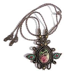 Collar de Macramé de satén Fabricación artesanal - Zoisita auténtica