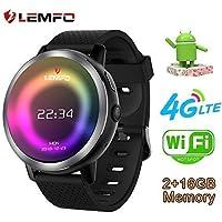 LEMFO LEM8 - Android 7.1.1 4Gorologio intelligente, Fotocamera da 2 MP di Watch Phone, MT6739,2GB + 16GB, Batteria 580Mah Bluetooth/GPS / Cuore Rate Monitor per uomini Donne (Nero)