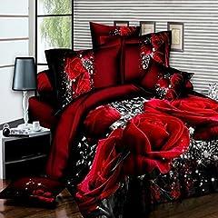 Idea Regalo - Ddanke - Set copripiumino, motivo: rose in 3D, colori: rosso e nero, 1,8m, 4 pezzi (include 1copripiumino, 1lenzuolo e 2federe)