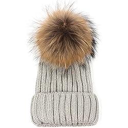 Cappelli,SW Donna Lana Maglia Beanie Beret Sci Palla Tappo Baggy Inverno Caldo Cappello (Grigio chiaro)