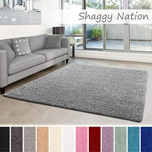 Shaggy-Teppich | Flauschiger Hochflor für Wohnzimmer, Schlafzimmer, Kinderzimmer oder Flur Läufer | einfarbig, schadstoffgeprüft, allergikergeeignet | Grau - 250 x 250 cm