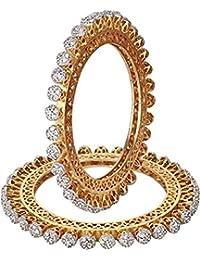 Ratnavali Jewels American Diamond Studded Gold Plated Traditional White CZ/Diamond Bangles Pacheli Kada For Women...