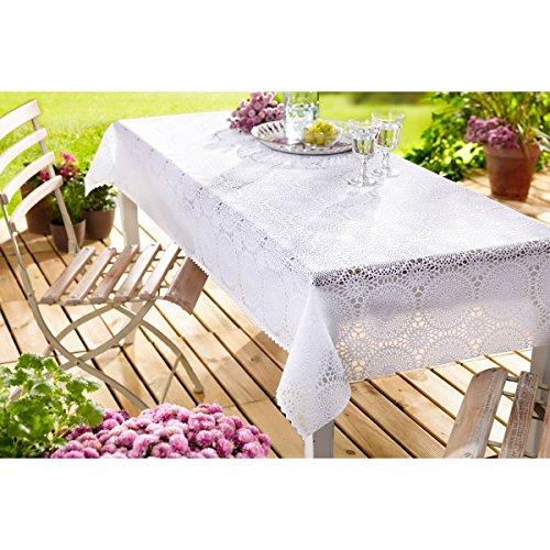 Spitzen-Wachstischtuchdecke, Tischdecke, Gartentischdecke, wasserfest, hochwertig, Tischtuch, Vintage, Wachstuchdecke, weiß, Kunststoff