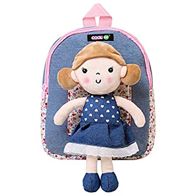 COOLDOT Plush Backpack Cute Toy Toddler Bag with Removable Stuffed Doll A Great Gift idea for Girls Ages 3+