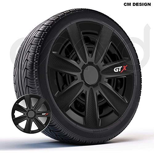 CM DESIGN 4 x 14 Zoll GTX Carbon(Schwarz Auto-Radkappen Radzierblenden
