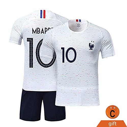 Fine Finet Maillots de Sport Garçon Football T-Shirt et Short France 2 Étoiles Vêtements de Football N° 10 Beau Populaire pour Enfant Garçon, Blanc