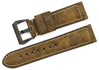 iStrap 22mm 24mm 26mm banda de reloj Vintage piel de vacuno correa acolchada correa de Asso hebilla de acero cepillado