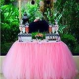 Partido Falda de la Tabla de Tulle Tutú Conveniente Para la Boda Decoración de la los Festivales de la Fiesta de Cumpleaños (Rosa)