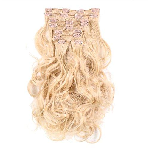 hair2heart Clip in Extensions - 60cm Länge - 130g Haargewicht - 8 teilig - gewellt - Haarteil, optisch wie Echthaar - N-22 goldblond