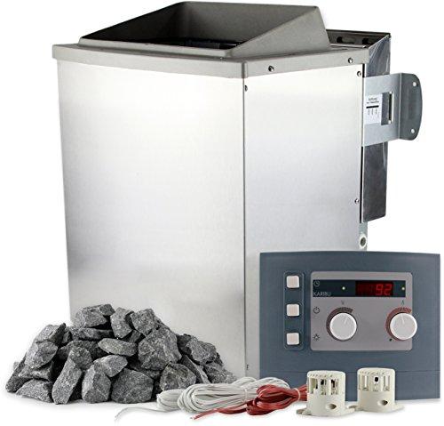 Karibu Saunaofen Bio 9 kW mit Steuerung und 20 kg Saunasteine 400 V Bio-Kombiofen inkl. Verdampfer für Dampfsauna