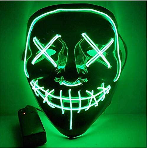 Comprafun halloween led maschere, maschere teschio, 3 modalità mask paura spaventoso costume terribile per halloween cosplay carnevale feste(verde)