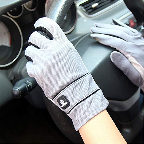 Sonnenschutz-Handschuhe, Sonnenschutzhandschuhe UPF50 + Herren Vollfinger-Touchscreen Atmungsaktive rutschfeste Outdoor-Fahrhandschuhe Outdoor UV-Schutz (Color : Dark-Gray-A, Size : One Size)