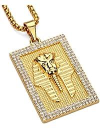 mcsays oro cuadrado antiguo Egipto Faraón King colgante Iced Out Bling Bling Rhinestone Hip Hop collares