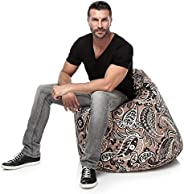 iBed Home Paisley Design American Cotton Bean Bag, Beige - 80 x 50 cm