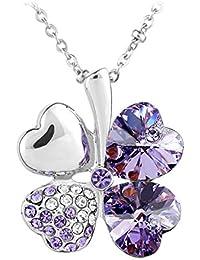 Le Premium® Trèfle Collier pendentif en SWAROVSKI® ELEMENTS cristal-violet-plaqué or blanc