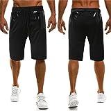 OSYARD Mode Herren Shorts Sommer Casual Shorts für Männer Knie Plissee Lace up Taille Hosen(XL, Schwarz)