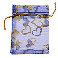Orien 50 PCS Transparency Heart Wedding Candy Favor Bag Jewelry Gift Pouch Blue 3.93*5.91 Inch