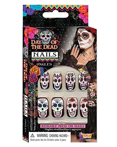 Ideen Den Letzten Kostüm (Sugar Skull Fingernägel zum aufkleben am Day of the Dead &)