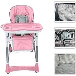 Silla alta y ajustable para bebé – Silla de color rosa con tableta para niño de 6 meses a 3 años