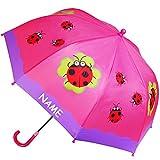 Unbekannt Regenschirm -  Marienkäfer & Glückskäfer mit Kleeblatt  - incl. Name - Kinderschirm Ø 72 cm / mit Klemmschutz - Kinder Stockschirm mit Griff - Regenschirme ..