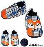 Unbekannt Krabbelschuhe / Lauflernschuhe -  Fuchs & Ente  - Größe: 9 Monate bis 1 Jahr - Anti Rutsch Sohle - SUPER leicht anzuziehen - 100 % Baumwolle - Babyschuhe - ..