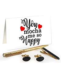 TiedRibbons® Valentine Gifts For Boyfriend Golden Cufflinks,Tiepin And Pen Combo Set With Valentine's Special...