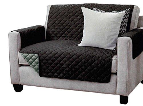 Copridivano doppio, per poltrona e divano, trapuntato con braccioli e tre tasche–colori: antracite / grigio chiaro, marrone / beige, nero / antracite, microfibra, nero/antracite, 2-sitzer sofa