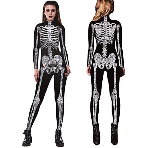 JIANGFU Halloween Skelettbau Druck dünne Stretchhose siamesische,Männer Womens Skeleton Bones Halloween Cosplay Bodycon Party Fancy Spiel Kleidung (M)