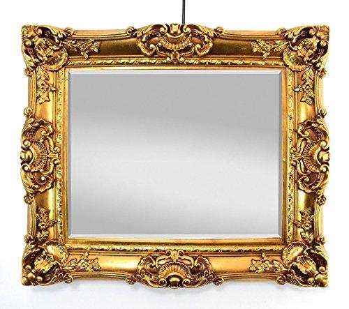 Großer Wandspiegel Barock Gold mit Facettenschliff, Spiegel Antik 75x85 cm Garderobenspiegel...