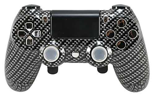 PS4 Elite Violett Custom Controller mit Kohlefaser Paddel, Trigger Stops. Professional Level graduiert Equipment. Turnier Zugelassen und Legal. für FPS Spiele, Cod 2. Weltkrieg Carbon Fiber/Chrome - Custom-ps4-controller