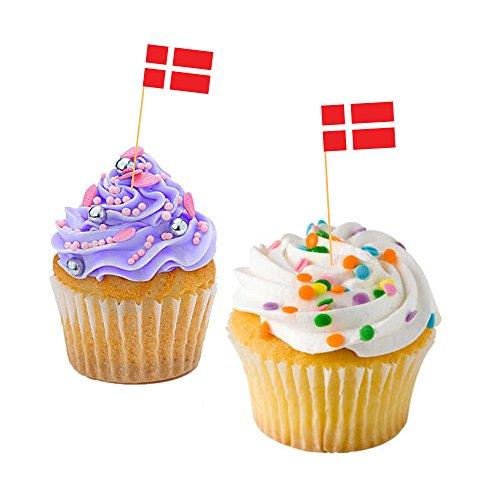 DANISH CUPCAKE FLAGS - Denmark / Baking / Decoration / Decorative Cake Toppers (50)