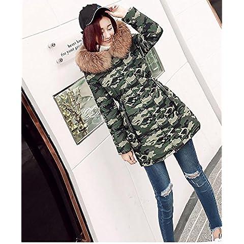 MYM giacca invernale di fascia alta collare vero lusso della pelliccia delle donne caldo di spessore giacca con cappuccio verso il basso e lunghi tratti Giacche da donna , army green camouflage , m