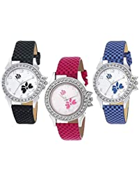 Royal India Overseas Latest Collection Of Fashionable Watches Set Of 3 - For Girls & Women(Black,Pink,Blue)