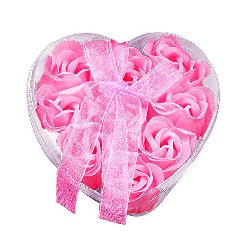 Sunnyuk Rose Seifenblume, 9 Köpfe Rose Bad Körper Blütenblatt Rose Flower Soap - Geschenk Dekoration (Rosa) -