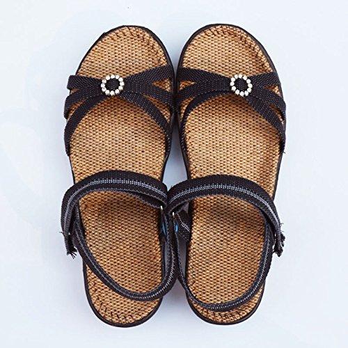 fan4zame Leinen Sandalen Damen Sohle Foot Pads Sommer Damen Sandalen Schuhe Cool bequem atmungsaktiv or - 37