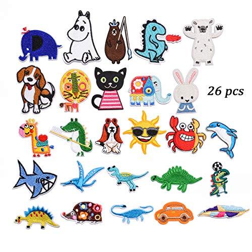 Bügelflicken Set-gestickter Aufnäher,Verwendet zum Nähen und Bügeln, Jurazeit Tyrannosaurus Triceratops, süße Dinosaurier, fliegende Pony, Kleidung dekorative Flicken Patches - Cartoon Tiere. (animal) -
