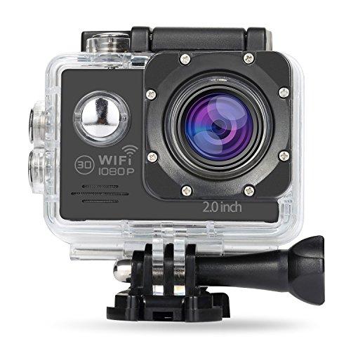 NexGadget Action Camera WiFi Full HD 1080P 140° Grandangolare Certificato IP68 Sport Camera Impermeabile Tuffarsi sotto 30 Metri con Vari Accessori Kit(Nero)