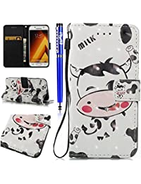 FESELE Samsung Galaxy A5 2017 Case,Samsung Galaxy A5 2017 Leather Wallet Case PU Leather Cover With Bling Diamond Shining Sparkling High-Quality Leather Bookstyle Wallet Case with Hand Strap Lanyard Magnetic Closure Stand Function Leather Wallet Flip Protective Sleeve with Card Slot and Banknotes Pocket for [Samsung Galaxy A5 2017] + 1 x Stylus Pen - Cows