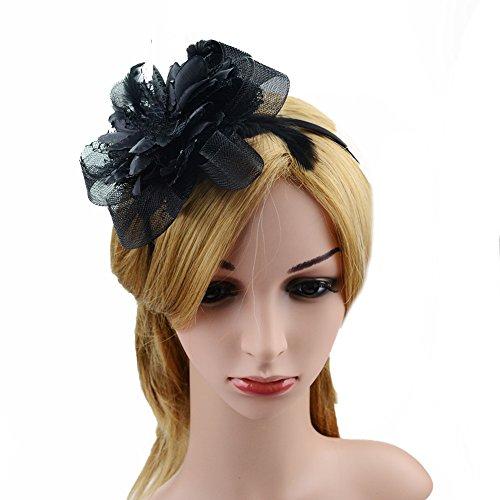 Clip elegante para mujer, broche de plumas, flores y malla, de JasmineLi, negro