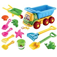 Gettesy 13Pcs Children Outdoor Beach Sand Toy Beach Bucket Shovel Wheelbarrow Playset Sandbeach Vehicle Engineering Vehicle Set for Toddlers Children Girls Boys - Color Random