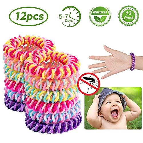 Cozywind 12pcs Pulsera Repelente de Mosquitos,100{0213244ebeb373a32e81f7b0b3901199b6462f66c7007ddeee205b9e7de2c301} Natural Ingredientes, Sin DEET, contra los Insectos, para Bebés Niños y Adultos, Multicolor